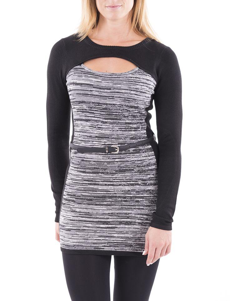 Tunique à manches longues avec ceinture noire - Mode Choc | Le grand magasin de la mode