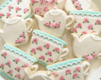 Tea Pot and Tea Cup Cookies Victorian Cottage Chic by MartaIngros
