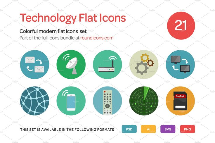 Technology Flat Icons Set by roundicons.com on @creativemarket