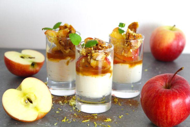 Mascarpone-mousse med äpplen och tosca