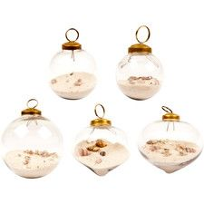 6 Piece Decorative Sand and Shell Filled Bauble Set