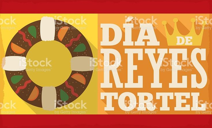 Banner with Tortell and Crown for Spanish 'Dia de Reyes'