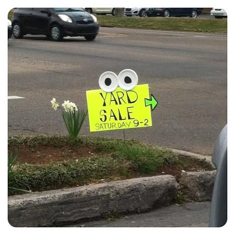 Haha! Best Yard Sale Sign!  Love it!