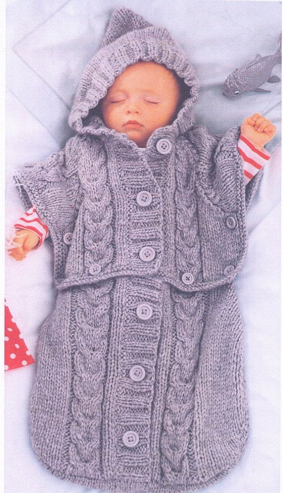 BaBY  CABLE ARaN WiNter HooDED SLEePING BAG ThaT CHaNGES To a PoNCHO Size 0 - 6 mTHs -8 PLy -Great BAbY Gift - Knitting PDF Instant Pattern