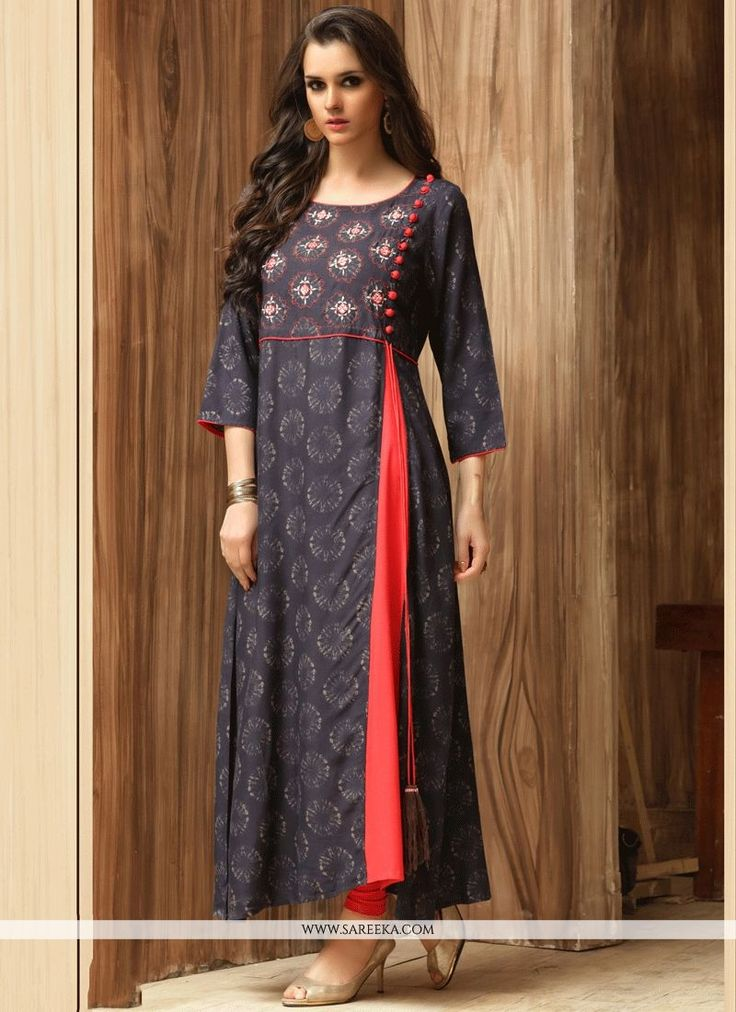 Unique elegance will come out from your dressing trend with this navy blue cotton party wear kurti. The print work looks chic and excellent for any affair. (Slight variation in color, fabric & work ...