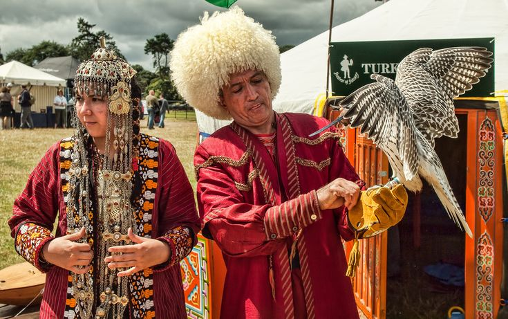 Falconers from Turkmenistan at the International Festival of Falconry at Englefield House, Berkshire