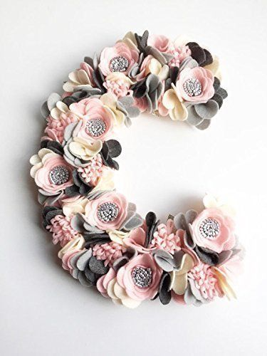Pink and Gray Felt Flower Monogram, Baby Girl Monogram, Nursery Decor