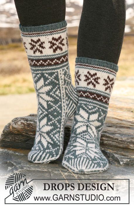 Just imagine these great #socks inside your boots on a freezing winter day! Free pattern by #DROPSDesign #knitting