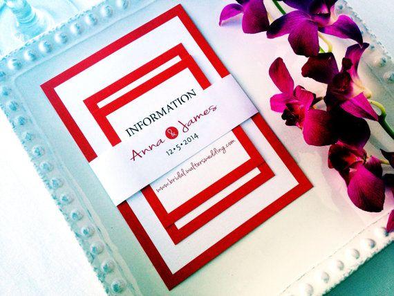 PRINTABLE Bold Wedding Invitation Suite - Digital File - Red , Modern , Unique , Invitations , Custom Invites , DIY