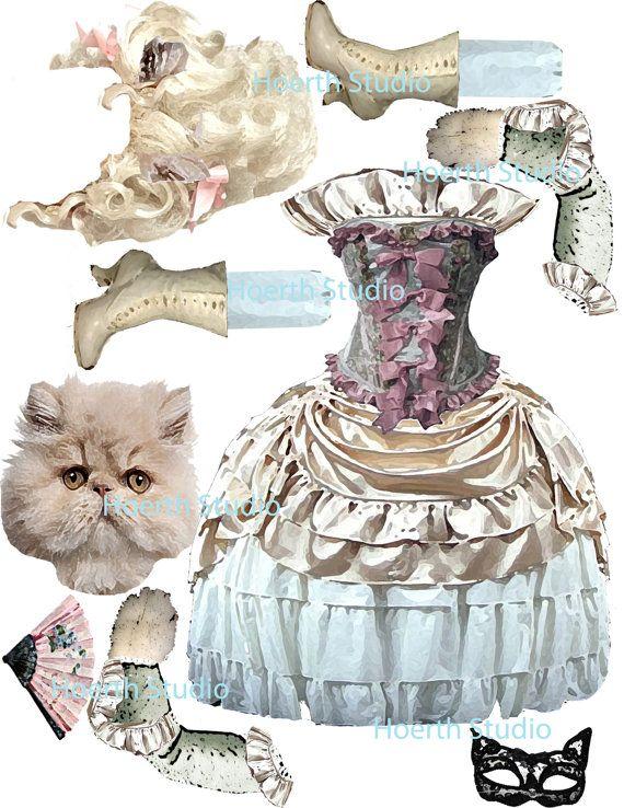 printable paper doll Kitty Marie Antoinette by Raidersofthelostart