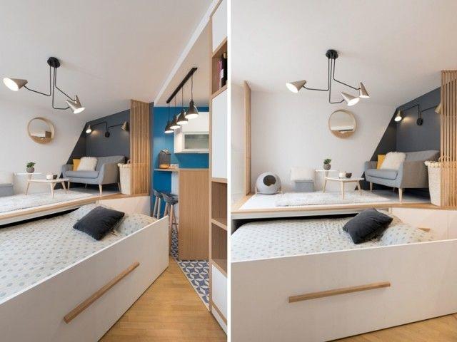 Amenager Une Vraie Chambre Dans Un Studio 15 Exemples Astucieux Studio Lit Escamotable Lit Et Decoration Maison