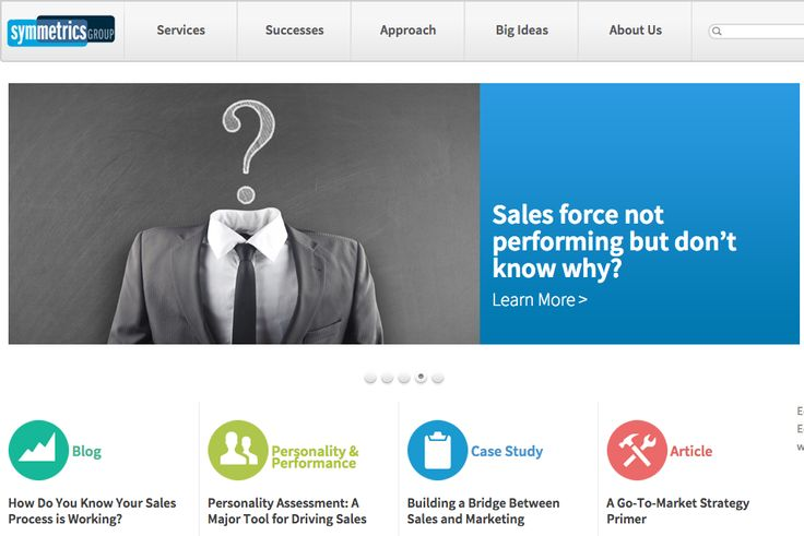 Rotating features on Symmetrics Group website.