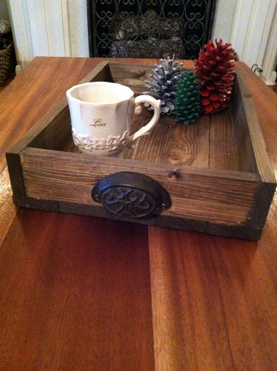 Dark Stained Reclaimed Wooden Tray With Metal Handles On