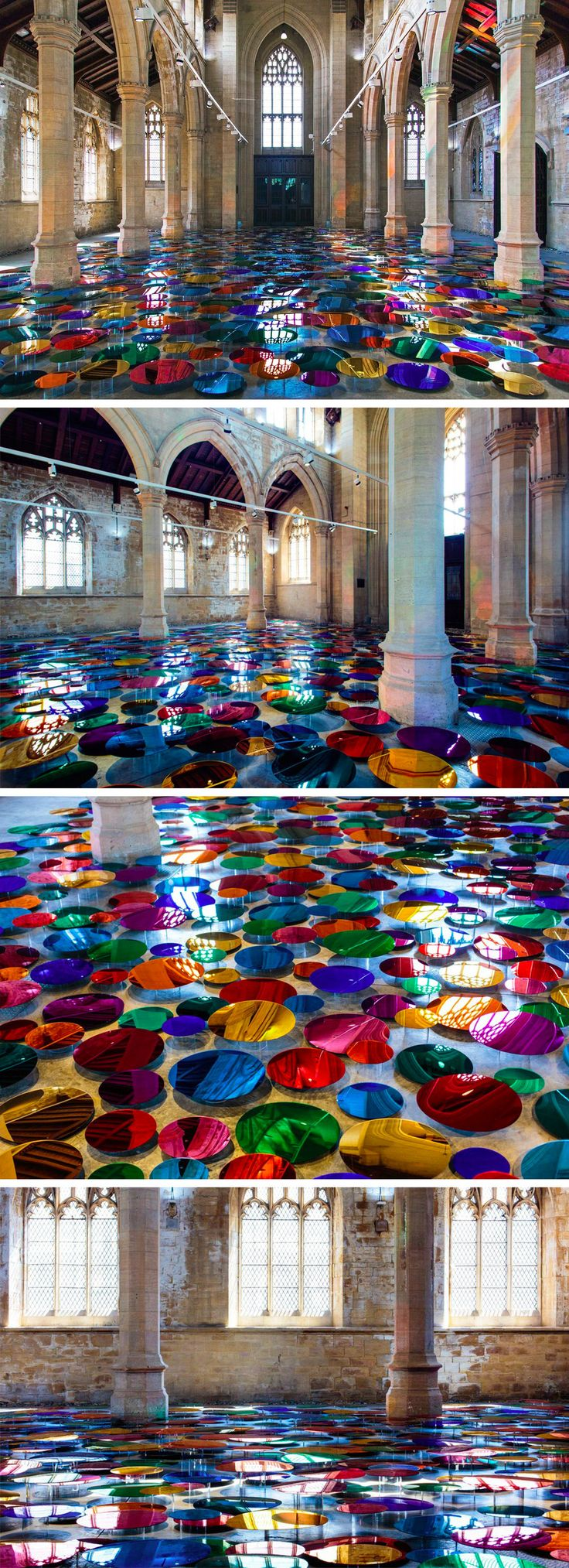 The Floor of an Historic Church Transformed Into a Reflective Pool of Multi-Colored Orbs by Liz West