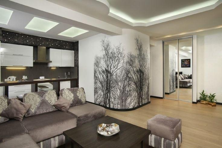 Fototapete mit schwarz-weißen laublosen Bäumen als Motiv