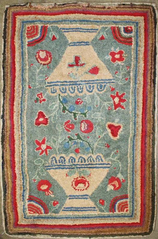 Early 19Th C American Flower Theorem Hooked Rug   Price Estimate: $500    $1000