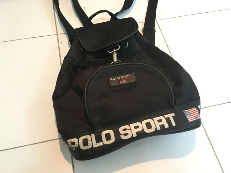 Vintage 90's Polo Sport Ralph Lauren Flag Logo Drawstring Bag Backpack Rucksack Black by AllStyle99 on Etsy