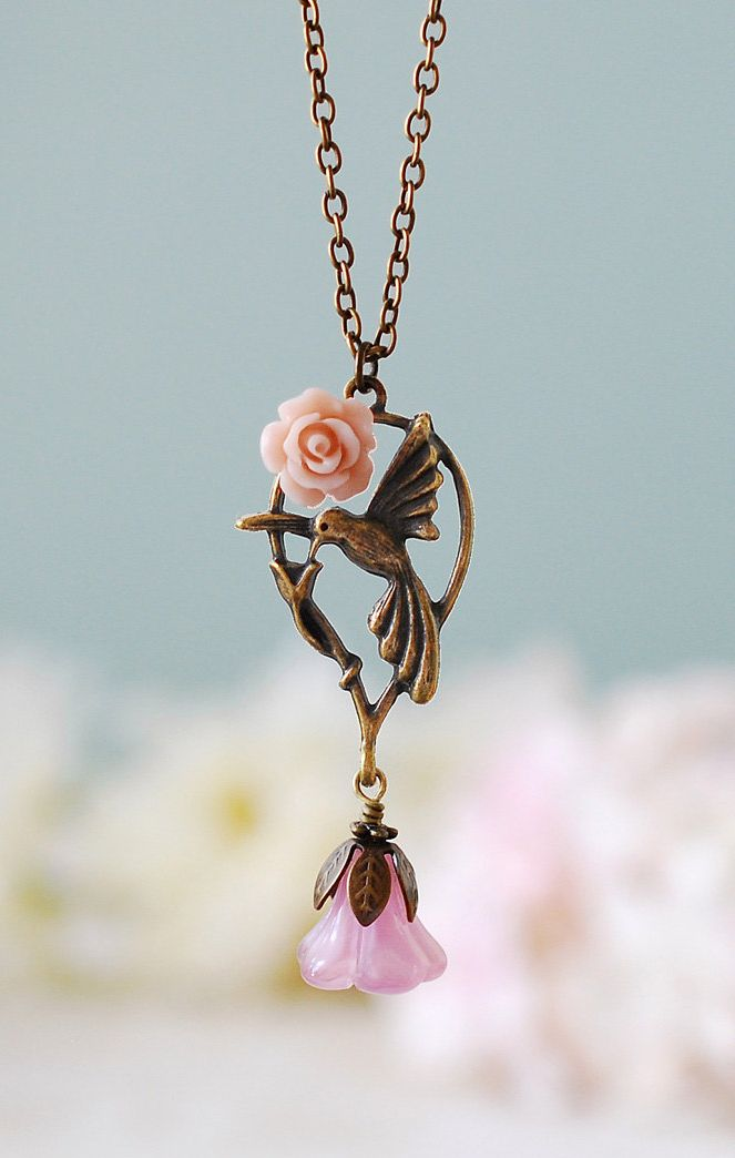 Hummingbird Necklace. Vintage Pink Rose Quartz Glass