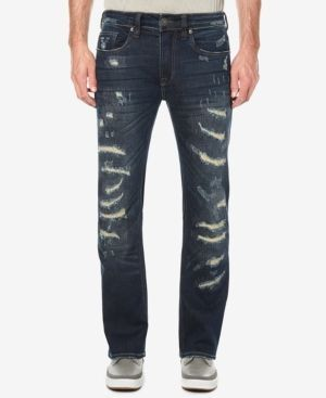 Buffalo David Bitton Men's Tinted Dark Blue Ripped Jeans - Blue 42x30