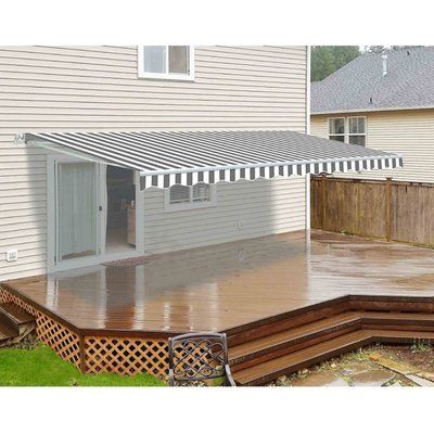 Aleko 12ft W X 10ft D Retractable Patio Awning Colour Grey White Patio Pergola Pergola Patio