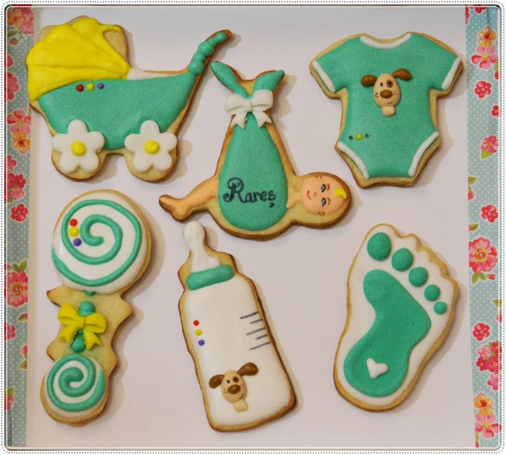 Turquoise, white and yellow baby boy cookie set by Forget-me-not Cookies