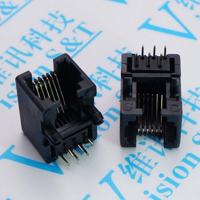 100 PCS Network socket RJ 11 Socket 95001 6 P 6 Black Telephone Jack 90 Degree 6 Core Crystal Head Seat #Affiliate