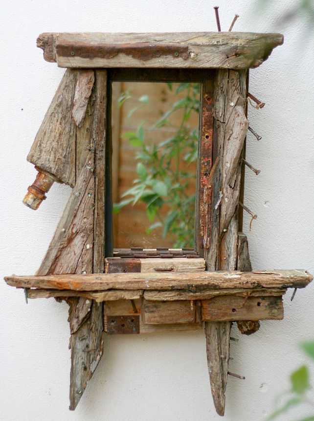 Driftwood Mirror, Wrecked fishing Boat wood, sculptural Drift wood Wall Art £180.00