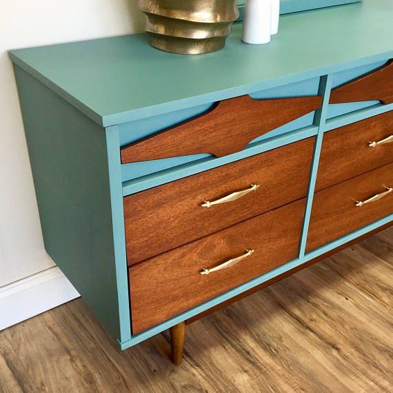 Mid Century Modern Lowboy Dresser Painted Furniture Teal #ad