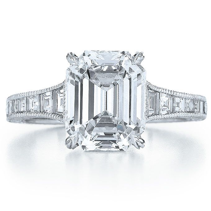 Brides.com: Angelina Jolie's Engagement Ring: Get the Look. Style 17690E, platinum ring with step-cut diamonds and emerald-cut diamond center stone, $150,000, Kwiat See more emerald-cut engagement rings.