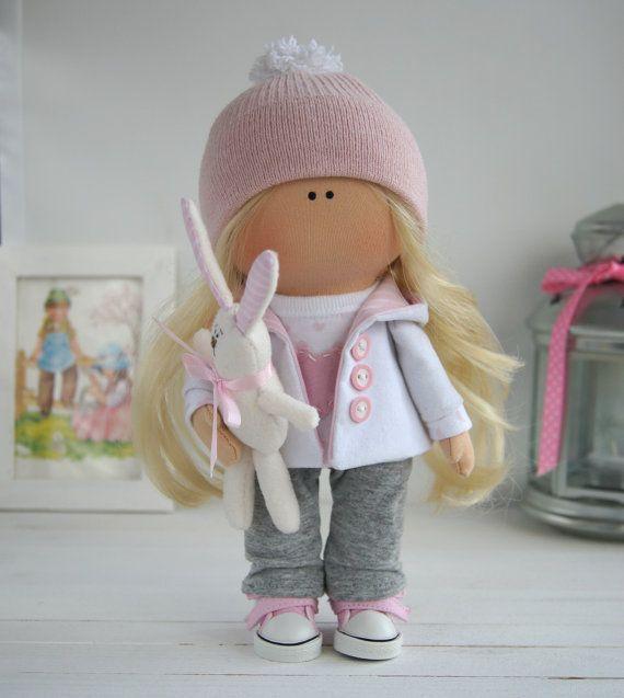 Muñeca hecha a mano Tilda muñeca Interior por AnnKirillartPlace