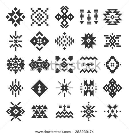 Vector abstract geometric elements, pattern, ethnic collection, aztec icons, tribal art, for design logo, cards, backgrounds