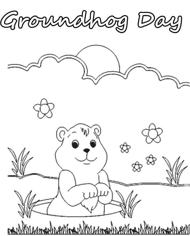 groundhog day coloring sheets free