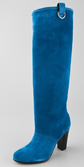 diane von furstenberg with blue suede