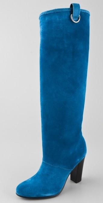 diane von furstenberg with blue suede