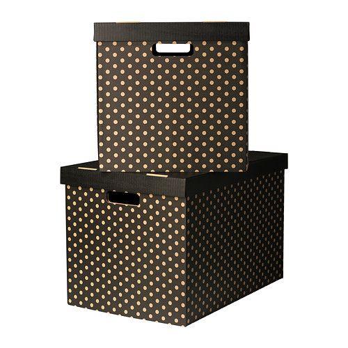 PINGLA Boîte avec couvercle, noir noir 56x37x36 cm