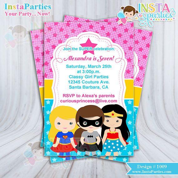 SUPERHERO girl invitations girls girly superheros Birthday Party invitation digital printable file 4x6 invites pink blue yellow ideas girly girl batgirl batman wonder woman super girl cute cutest ever by www.InstaParties.com