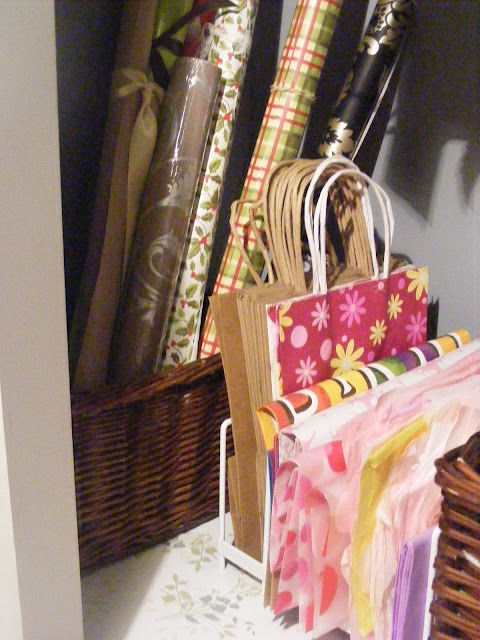 wrapping paper, tissue paper, gift bag storage - cookie sheet holder