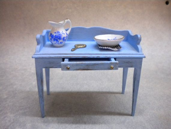 Miniature Dollhouse Furniture  Wash Stand  by FirecraftMiniatures