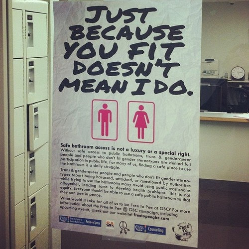 """Many trans* people, even after having gone through hormone therapy for a long time, are afraid of using the bathroom that coincides with their gender because of the possible backlash of people that are offended that a """"freak"""" or someone that doesn't prescribe to their specific gender norms."""