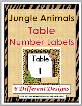 Jungle Animals Table Number Labels