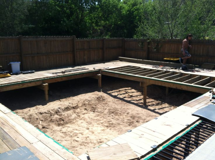 building the frame for a 14'x14' super tramp to be installed in a deck In ground trampoline Maxairtrampolines.com