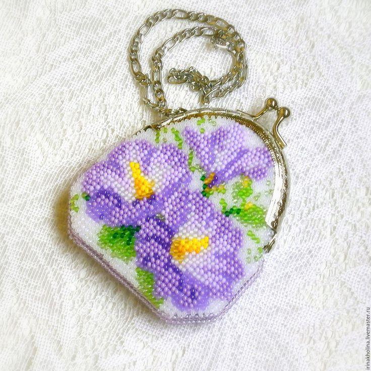 Купить Монетница Сиреневые цветы - монетница, кошелек, кошелек с фермуаром, кошелек для мелочи, кошелечек