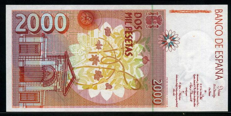 Spain money 2000 Pesetas banknote of 1992, José Celestino Mutis. -  Obverse: José Celestino Mutis observing flower. Reverse: A view of Royal Botanical Garden of Madrid and title page of Mutis work on vertical format. Printed by Fábrica Nacional de Moneda y Timbre, Madrid.
