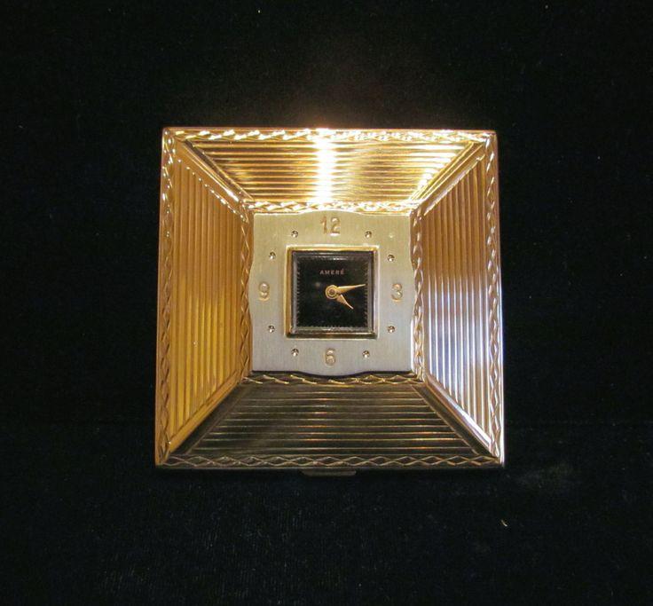Art Deco Clock Powder Compact Amere Swiss Clock Watch Rare Working Unused In Original Box