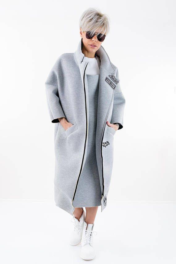 Maxi Mantel Wintermantel langen Mantel grauem