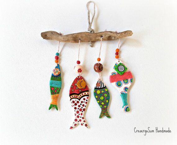 Fishes mobile wall decor, hand-painted wooden fish, colofull folk fishes home decor, wood fish mobile, boho mobile wall decor