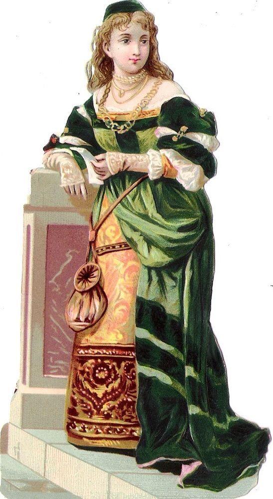 Oblaten Glanzbild scrap die cut chromo Lady Dame 13cm femme
