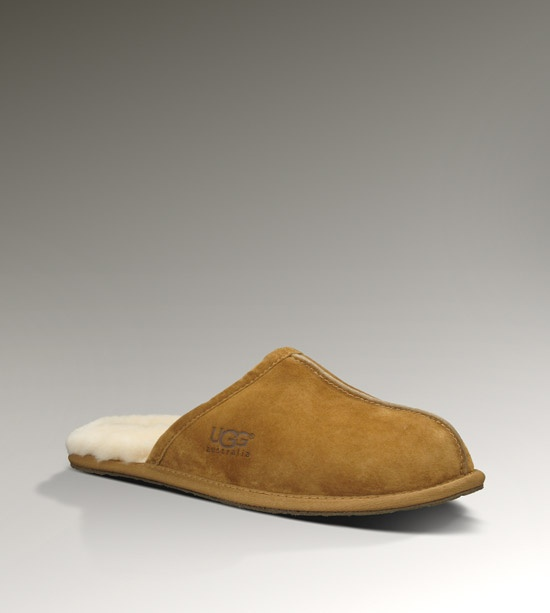 Mens Scuff By UGG Australia.  Chestnut suede and black leather. $89.95 sizes:whole sizes 7 to 14