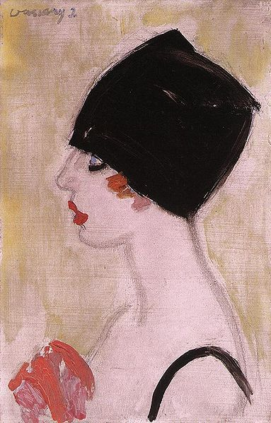 Woman wearing black turban (1930) by János Vaszary (1867–1938). He was a Hungarian painter, often painting pictures with a social message. His pictures of soldiers of World War I are particularly moving. Later he painted expressionistic visions. His style, witty and superficial as influenced by French art, often changed. The influence of Fauvism, Matisse, Dufy and Van Dongen are present in his works.