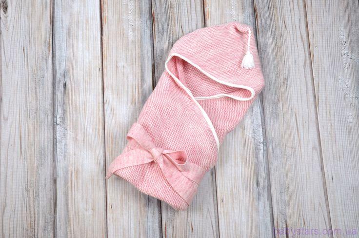 Вязанный конверт-плед для новорожденных с кисточкой ...